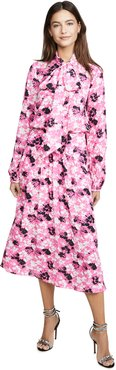 Floral Midi Long Sleeve Dress with Tie