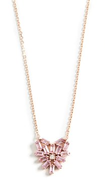 18k Rose Gold Fireworks Small Pink Sapphire Heart Pendant Necklace