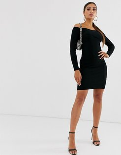 knitted midi dress with wrap detail in black