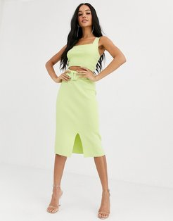 4th + Reckless knitted pencil skirt with belt detail in lime-Yellow