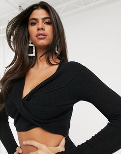 knitted wrap front off shoulder top in black