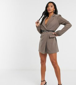 blazer dress with contrast leather-look belt in brown
