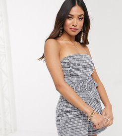 4th + Reckless Petite exclusive tailored romper in navy boucle-Multi