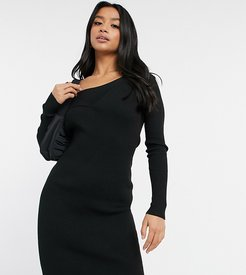 knitted cross front sweater dress in black