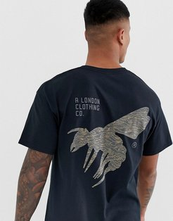 A London camo wasp back print t-shirt in oversized fit-Black