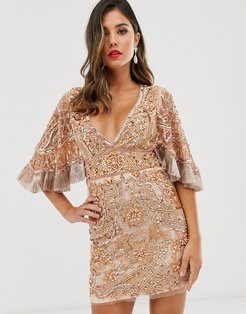 embellished mini dress with cape detail-Tan