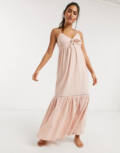 knot front beach maxi dress in pink