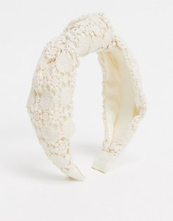 knotted lace headband in white
