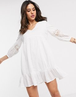 mini beach dress with sleeve detailing in white