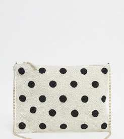 polka dot beaded clutch with chain in white