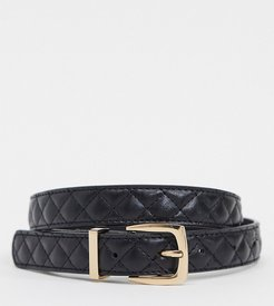 quilted belt with gold buckle in black