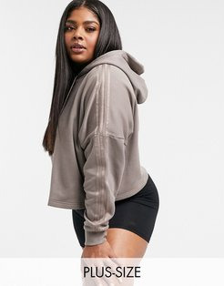 New Neutrals Plus cropped hoodie in trace brown