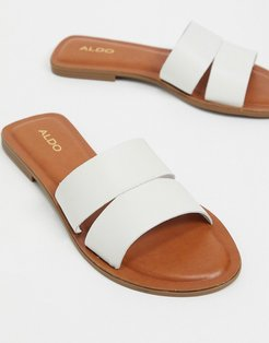 Andonia leather flat sandal in white