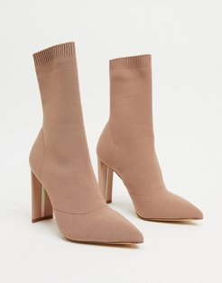 Deludith stretch sock boot in bone-Beige
