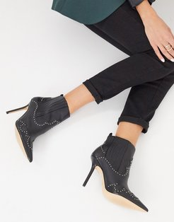 Kapone heeled ankle boot with studding in black