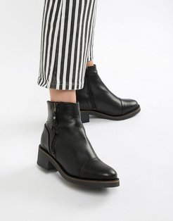 leather flat ankle boots-Black