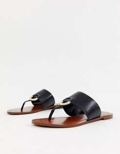 Ocericia leather ring post sandals in black