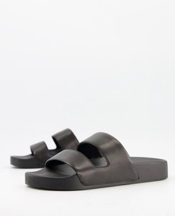 duo leather slider sandals in black