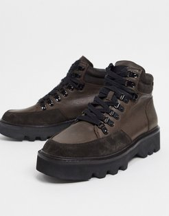 lodge hiker boots in brown