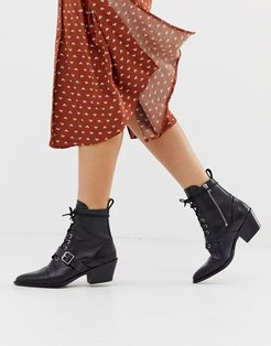 Katy lace up heeled leather boots with buckle in black