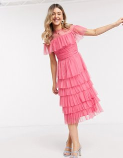 With Love mesh top tiered ruffle midi dress in pink