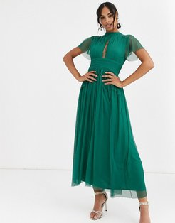 With Love midi dress in tulle with lace insert in emerald green