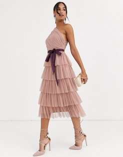 With Love one shoulder tiered midi dress in taupe-Pink