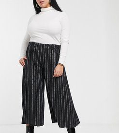 relaxed pleated trouses in repeat text print-Black