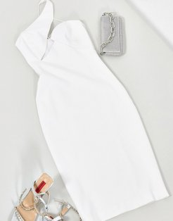 midi dress with cut out detail in white