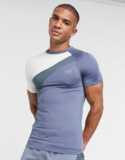 4505 muscle training t-shirt with contrast panels-Gray
