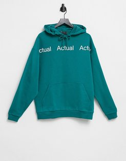 oversized hoodie with repeat chest print in teal-Green
