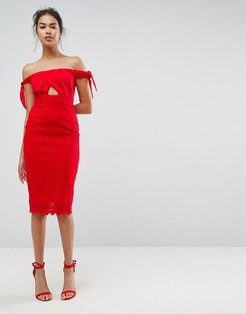 ASOS Bardot Lace Tie Shoulder Midi Dress-Red