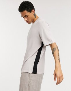 ASOS boxy knitted T shirt with side stripe-Beige