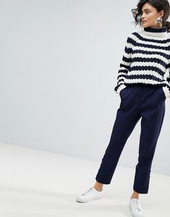 ASOS Cigarette Pants with Button Ankle Detail-Navy