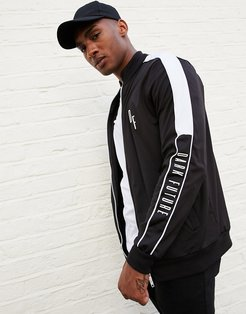 jersey track jacket with taping detail-Black