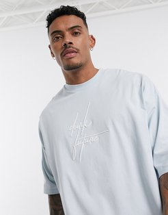 oversized longline t-shirt with Dark Future logo embroidery-Blue