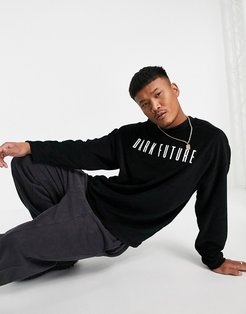 oversized longline t-shirt with logo embroidery in black toweling
