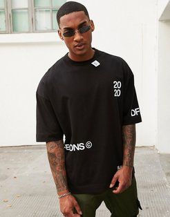 oversized t-shirt with text placement and neck tab detail in black