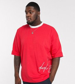 Plus oversized longline t-shirt with sleeve color block and dark future logo embroidery-Red