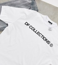 Tall oversized heavyweight t-shirt with logo print and woven tab-White