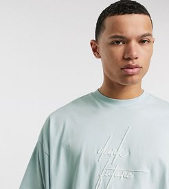 Tall oversized longline t-shirt with Dark Future logo embroidery-Blue