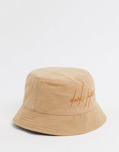 two-piece bucket hat with logo in suedette-Cream