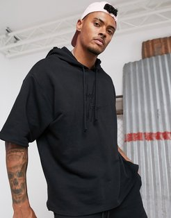 two-piece oversized short sleeve hoodie in black with 3D embroidered logo
