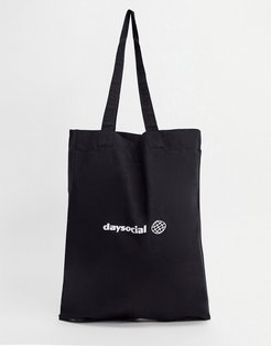 tote bag in black organic cotton