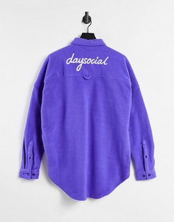 ASOS Daysocial oversized dropped shoulder polar fleece shirt in purple