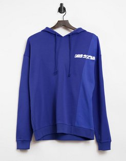 ASOS Daysocial oversized hoodie with cut and sew detail in blue-Blues