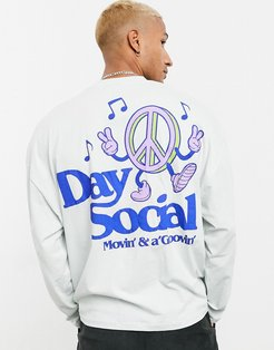 ASOS Daysocial oversized long sleeve t-shirt with back Daysocial logo print-Purple