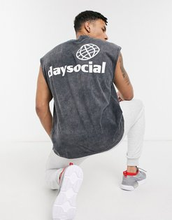 ASOS Daysocial oversized sleeveless t-shirt with front and back print in black