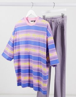 ASOS Daysocial oversized stripe t-shirt with logo text-Purple