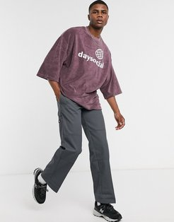 ASOS Daysocial oversized t-shirt with Daysocial logo embroidery in terrycloth-Purple